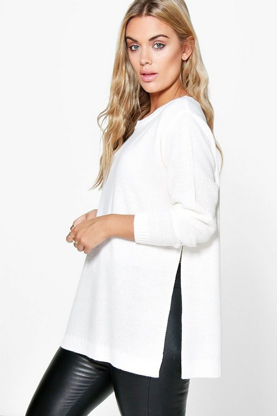 Womens Ivory Plus Side Split Moss Stitch Tunic Sweater