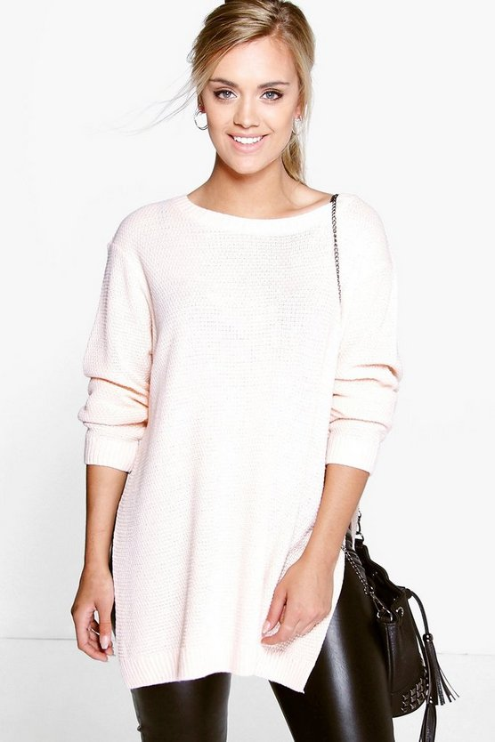 Womens Nude Plus Side Split Moss Stitch Tunic Sweater