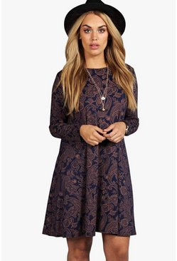 Womens Navy Plus Paisley Long Sleeve Swing Dress