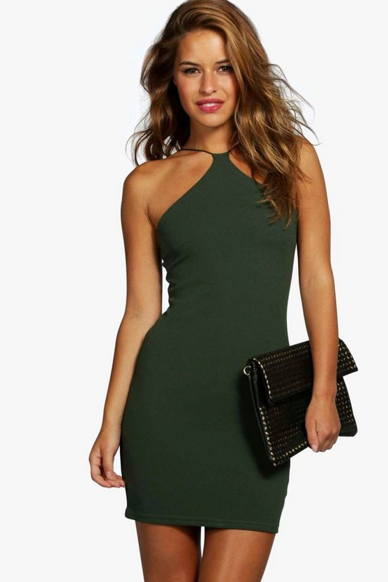Womens Khaki Petite  Strappy Bodycon Dress