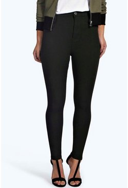 Womens Black Petite  High Rise Stretch Tube Jean