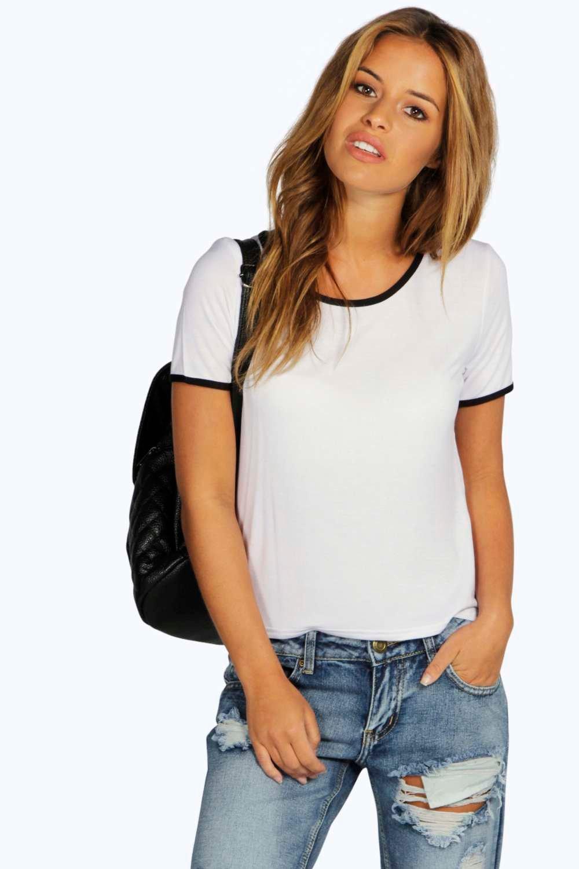 d94a620b8a6 Petite Gemma T Shirt With Binding | Boohoo