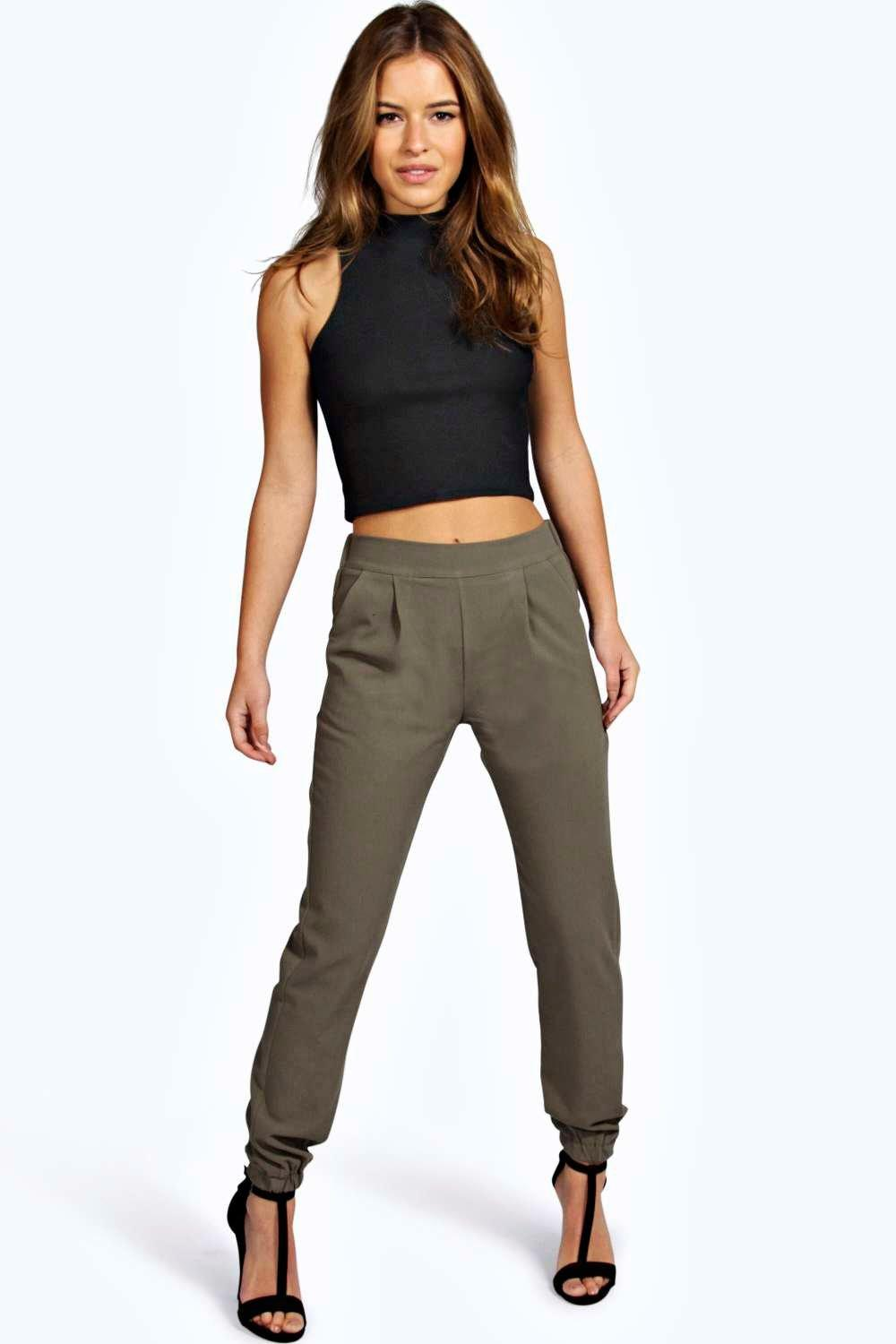 3256b201a105 Petite Nicola Woven Trouser With Cuff Detail | Boohoo