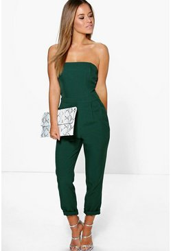 Womens Bottle green Petite  Bandeau Tailored Jumpsuit