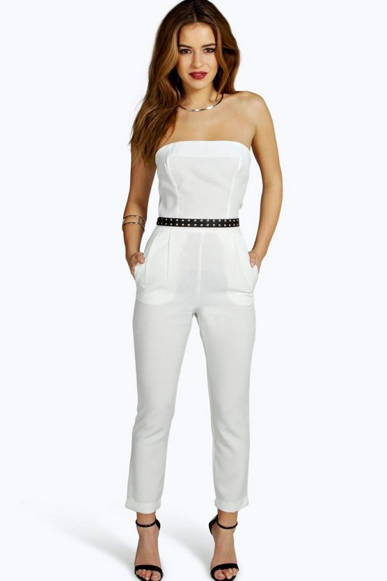 Womens Ivory Petite  Bandeau Tailored Jumpsuit