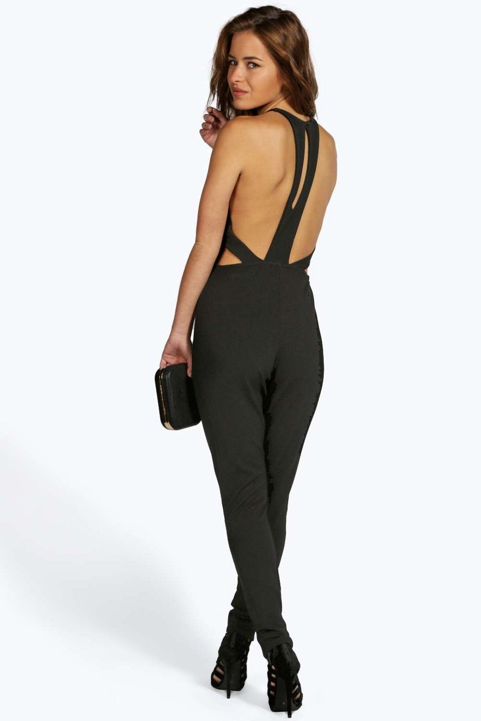 5a31162b8c Petite Maria Crepe Cut Out Back Jumpsuit | Boohoo