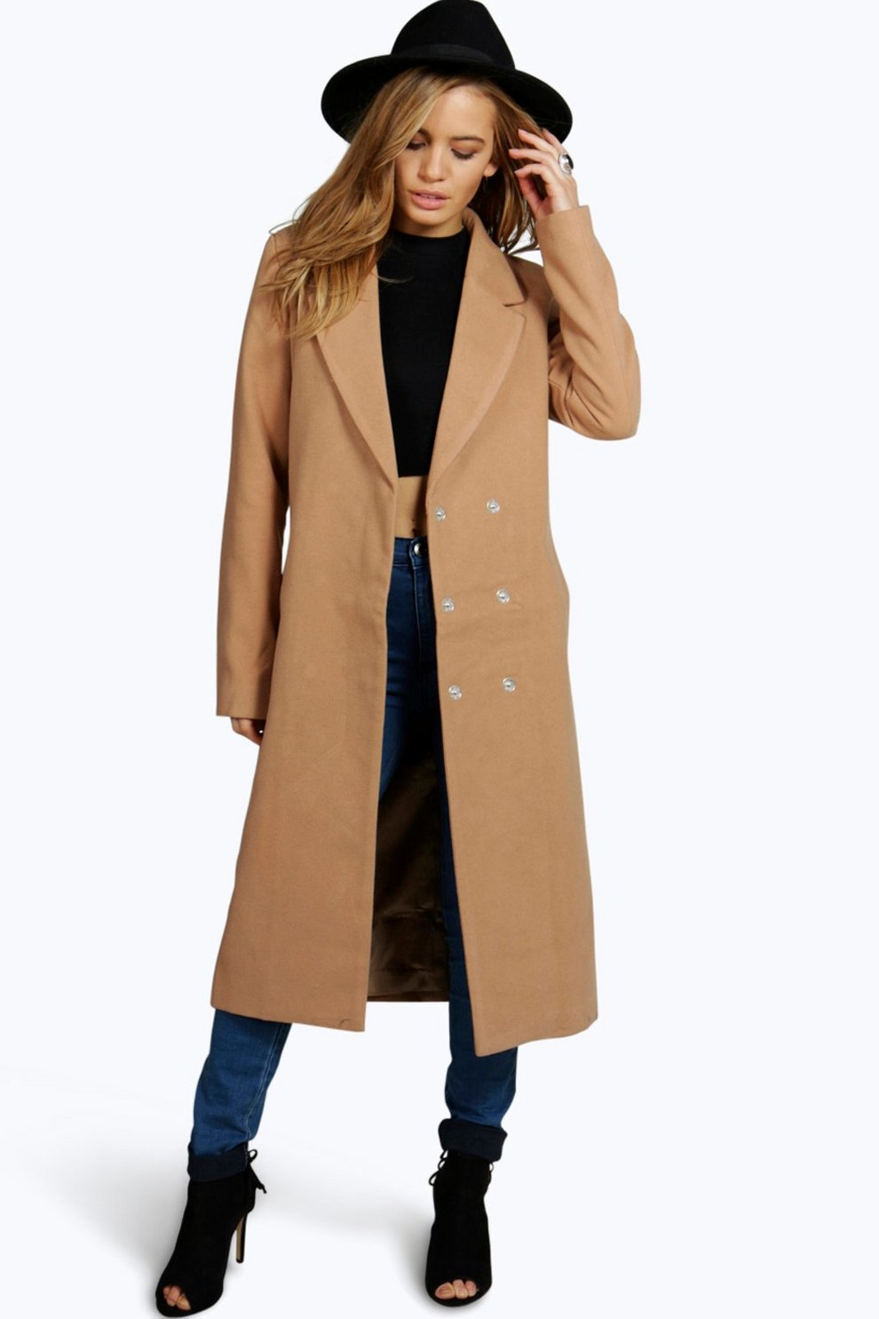 703adc299b34 Petite Kyla Longline Camel Duster Coat | Boohoo