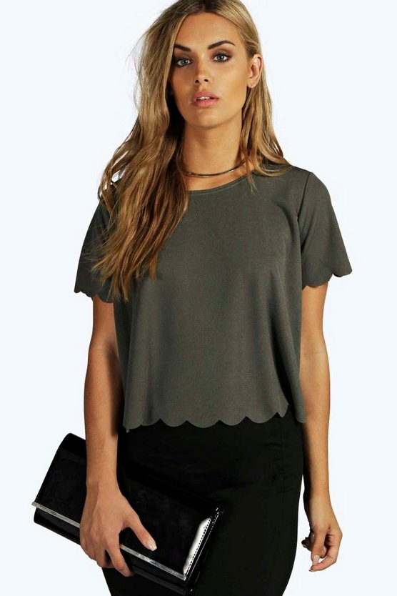 Plus Christina Scallop Edge Tee