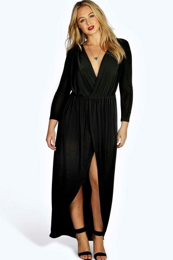 Womens Black Plus Slinky Wrap Front Maxi Dress