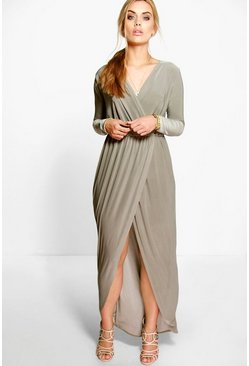 Womens Khaki Plus Slinky Wrap Front Maxi Dress