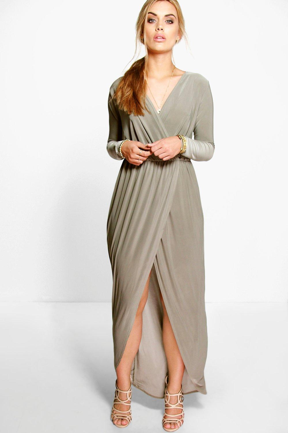 release date world-wide free shipping low price sale Plus Slinky Wrap Front Maxi Dress | Boohoo