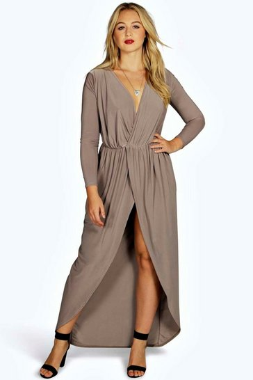 Womens Mocha Plus Slinky Wrap Front Maxi Dress