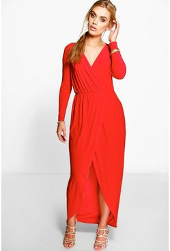 Red Plus  Slinky Wrap Front Maxi Dress