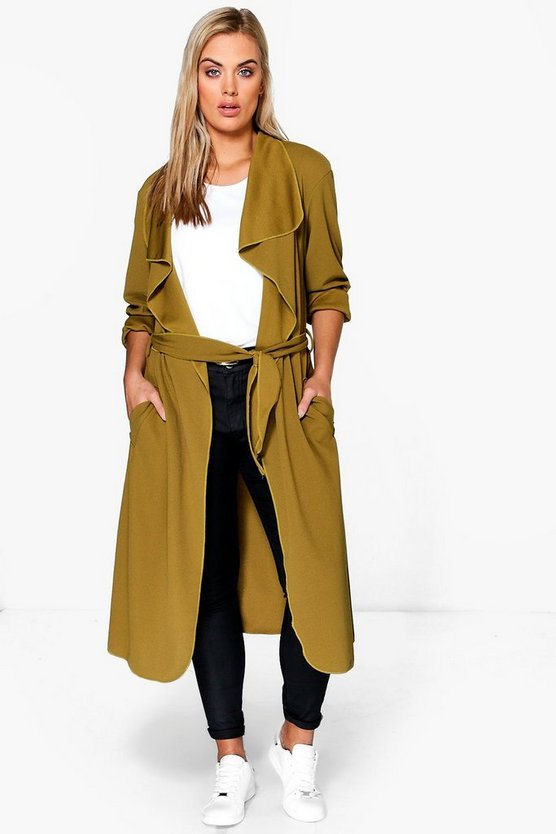 Plus Belted Shawl Collar Coat