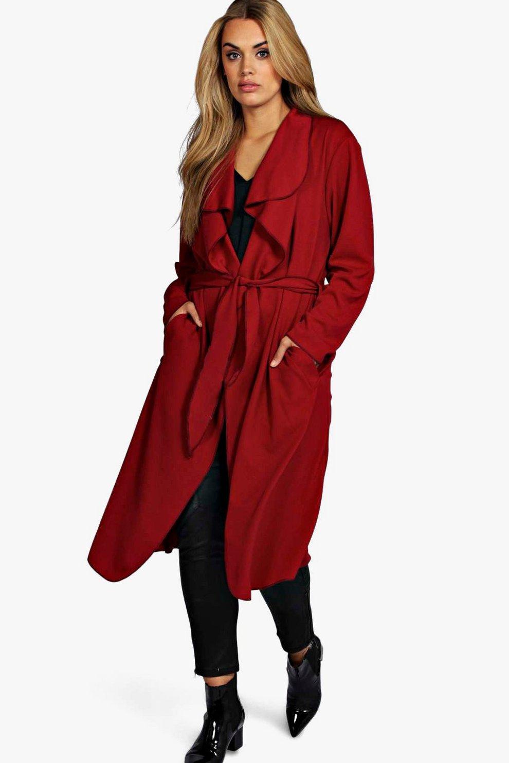 5d5ed59c356 Plus Belted Shawl Collar Coat