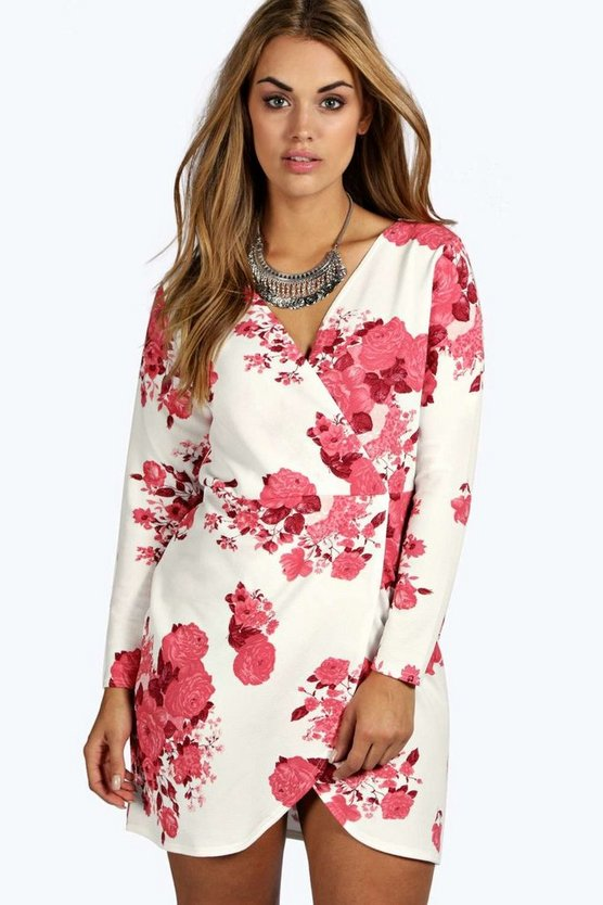 Plus Printed Wrap Front Dress