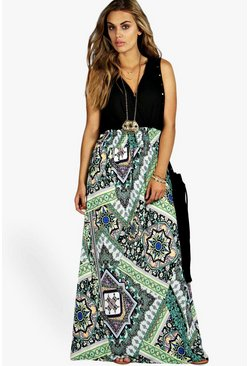 Womens Multi Plus Paisley Print Contrast Maxi Dress