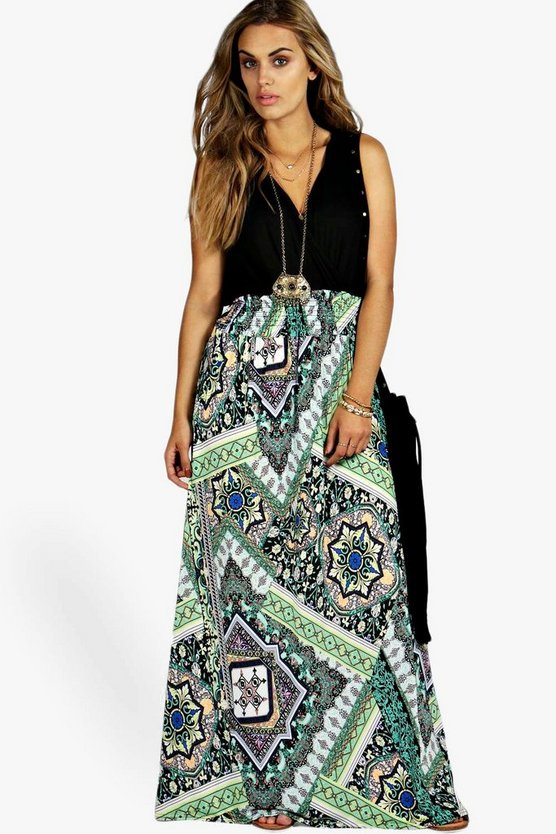 Plus Paisley Print Contrast Maxi Dress