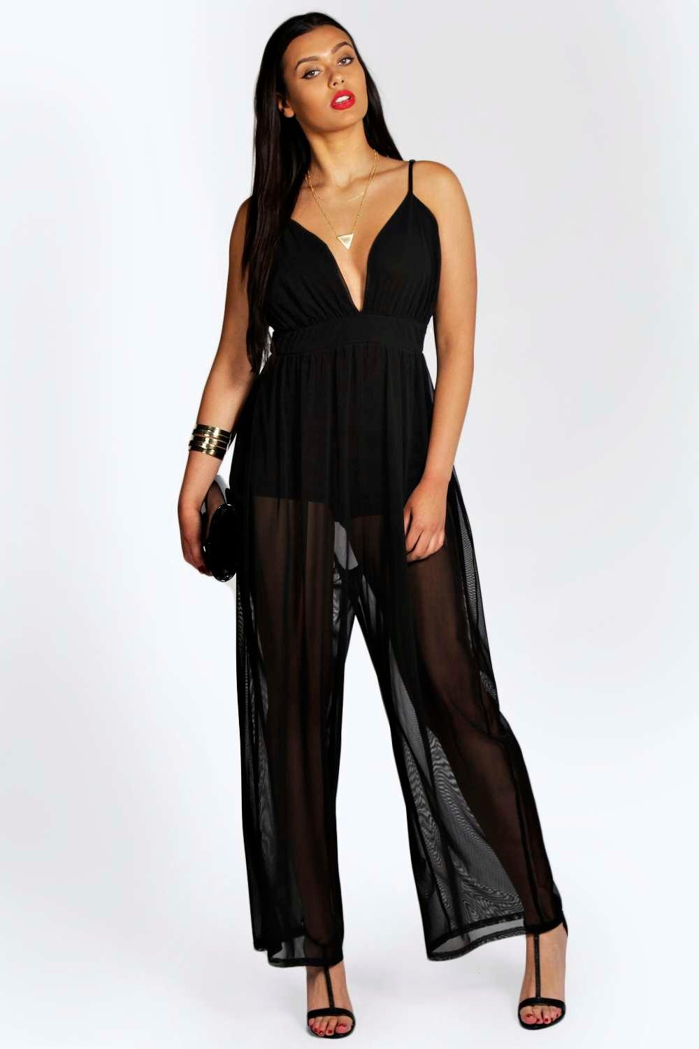 0b7167d5583f Rebecca Plunge Neck Sheer Trouser Jumpsuit black - Hooping UK