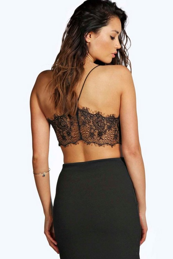 Womens Black Petite  Lace Back Bralet