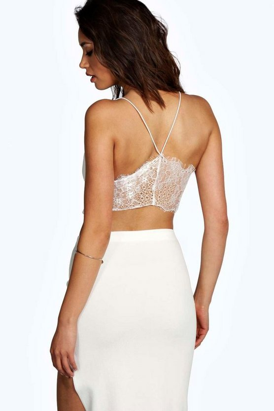 Womens White Petite  Lace Back Bralet