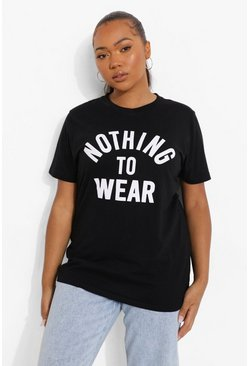 "Camiseta con eslogan ""Nothing To Wear"" Plus, Negro, Mujer"