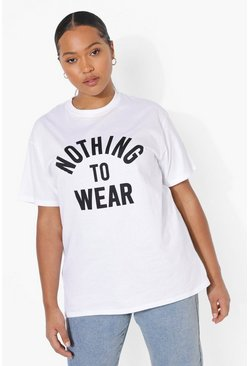 Dam White Plus - 'Nothing to wear' t-shirt med slogan