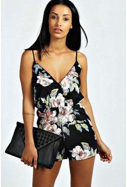 Womens Multi Petite  Floral Print Playsuit