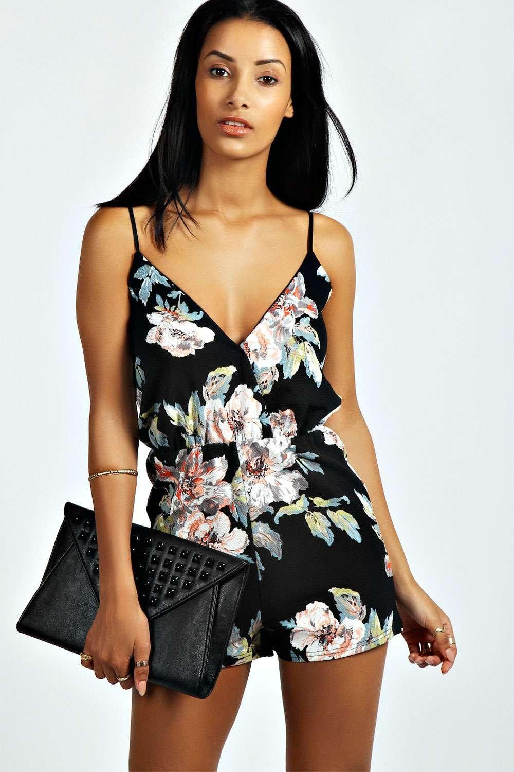 94692709ff6f Petite Floral Print Playsuit. Hover to zoom