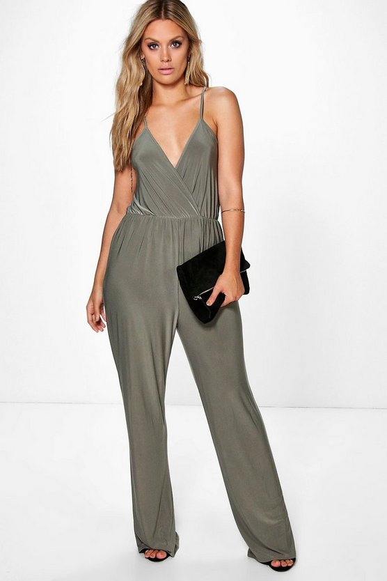 Plus Strappy Wrap Front Jumpsuit