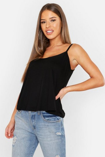 Womens Black Petite  Swing Cami Top