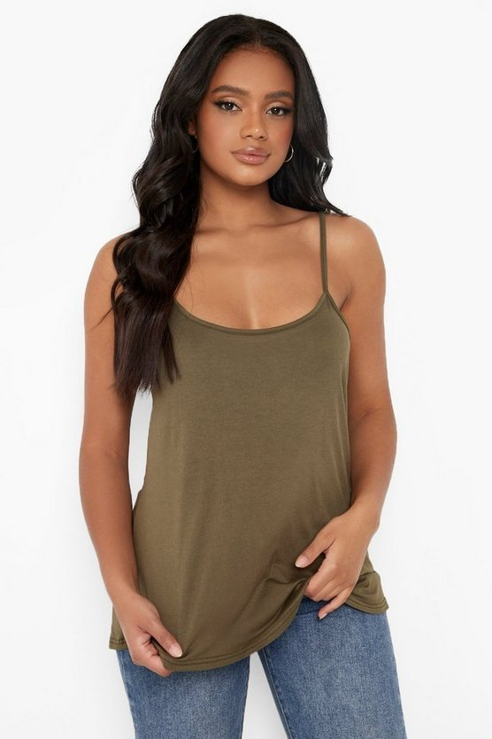 Womens Khaki Petite  Swing Cami Top