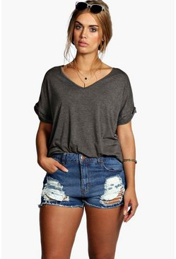 Womens Indigo Plus Ripped Denim Short