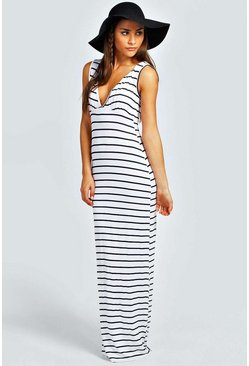 Ivory Petite  Plunge Striped Jersey Maxi Dress