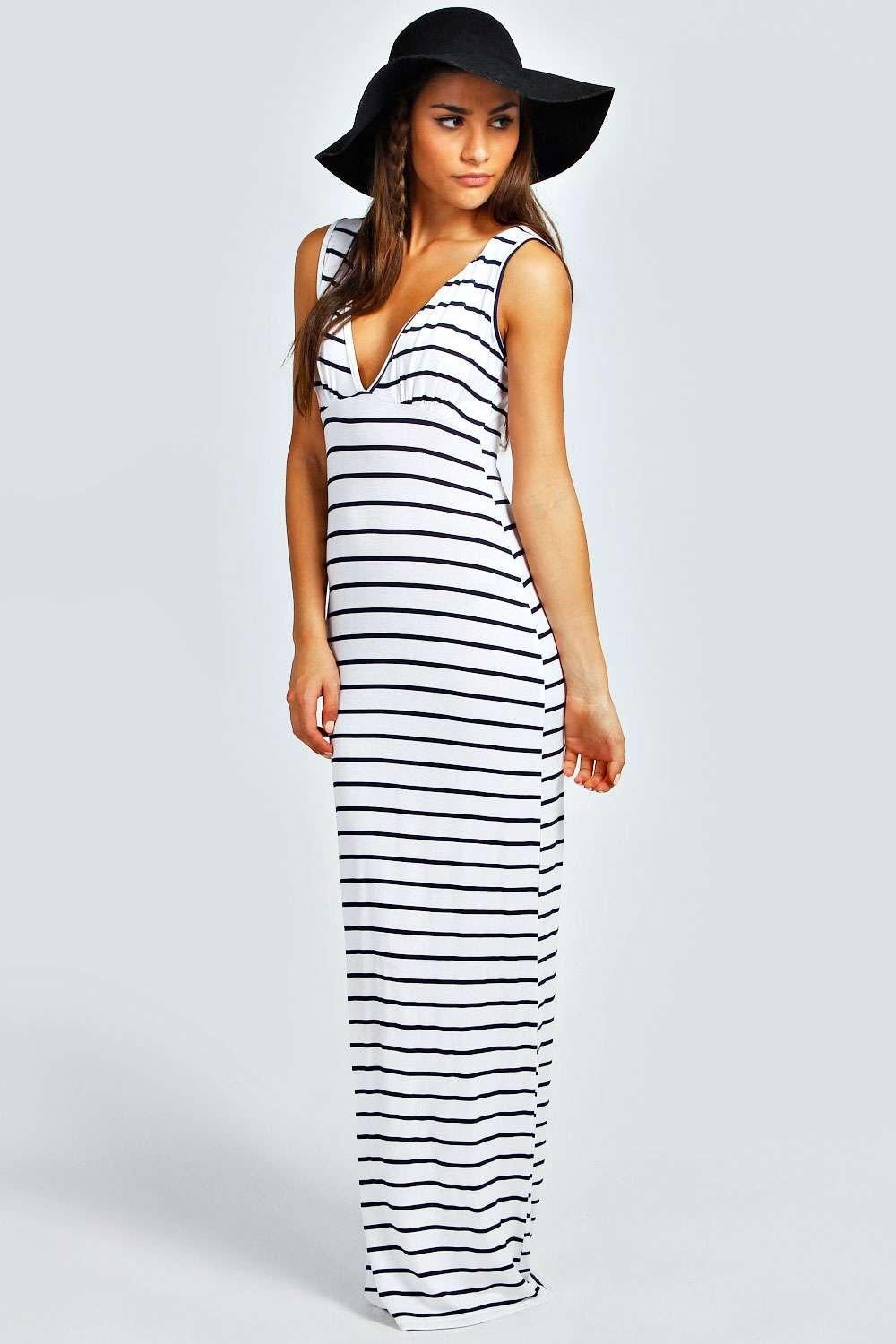8b0394ec0fd Womens Ivory Petite Plunge Striped Jersey Maxi Dress. Hover to zoom