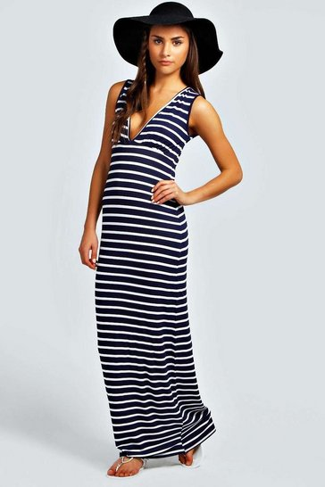 Womens Navy Petite  Plunge Striped Jersey Maxi Dress