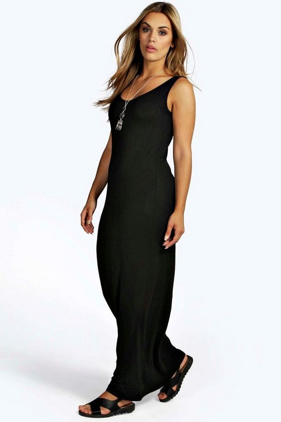 Womens Black Plus  Scoop Neck Maxi Dress