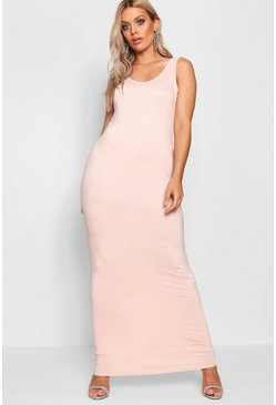 Womens Blush Plus  Scoop Neck Maxi Dress