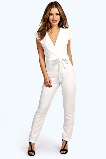 Ivory Petite  Wrap Over Jumpsuit