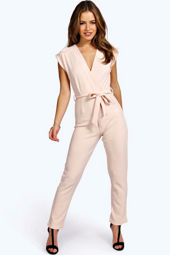 Womens Nude Petite  Wrap Over Jumpsuit