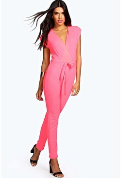 Womens Pink Petite  Wrap Over Jumpsuit