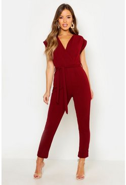 Womens Wine Petite  Wrap Over Jumpsuit