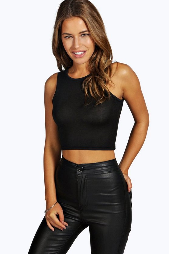 Petite Slash Neck Crop Top