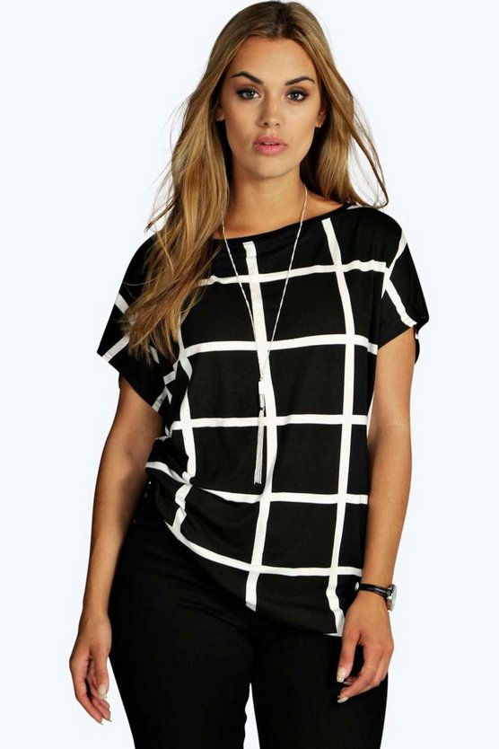 Womens Multi Plus Grid Print Oversize T-Shirt