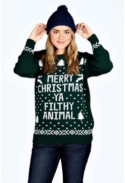 Green Plus Ivy Filthy Animal Xmas Sweater