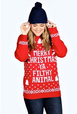 Womens Red Plus Ivy Filthy Animal Xmas Sweater
