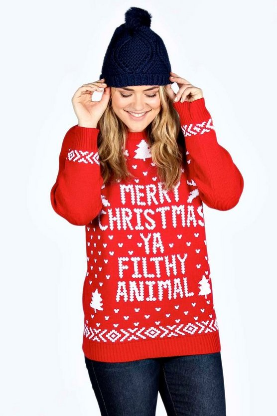 Womens Red Plus Ivy Filthy Animal Xmas Jumper