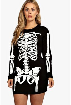 Womens Black Plus Skeleton Halloween Bodycon Dress