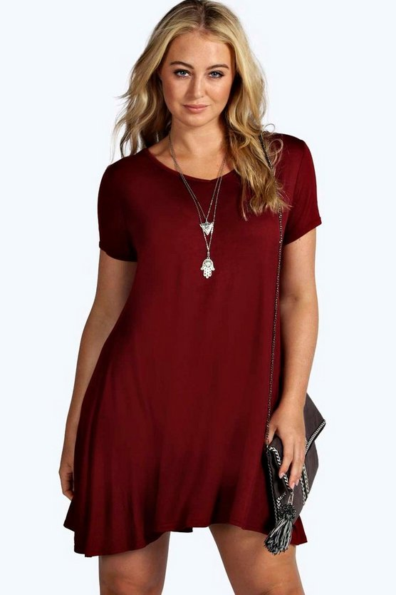 Plus V Neck Swing Dress
