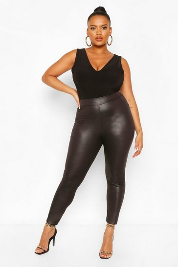 Womens Black Plus  High Waist Wet Look Legging